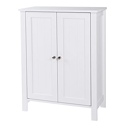 Amazoncom SONGMICS Bathroom Floor Storage Cabinet with Double Door