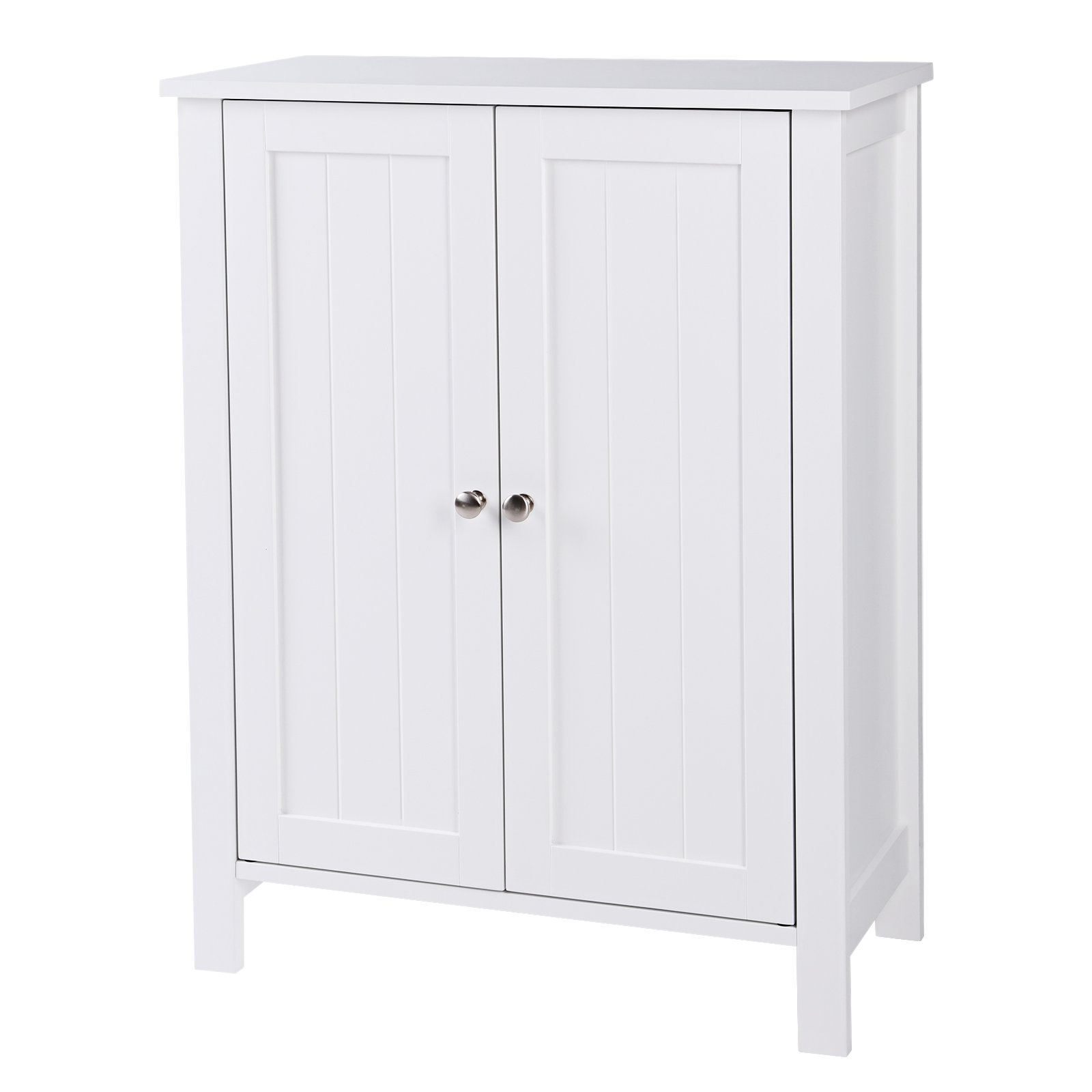 SONGMICS Bathroom Floor Storage Cabinet with Double Door Adjustable Shelf White UBCB60W by SONGMICS