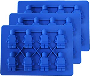 Eutuxia Silicone Molds Robot Figurine, Set of 3, 8 Cavity Silicone Mold Tray Perfect for Ice Candy Chocolate Gummy Bears & More! Must-Have Summer Item