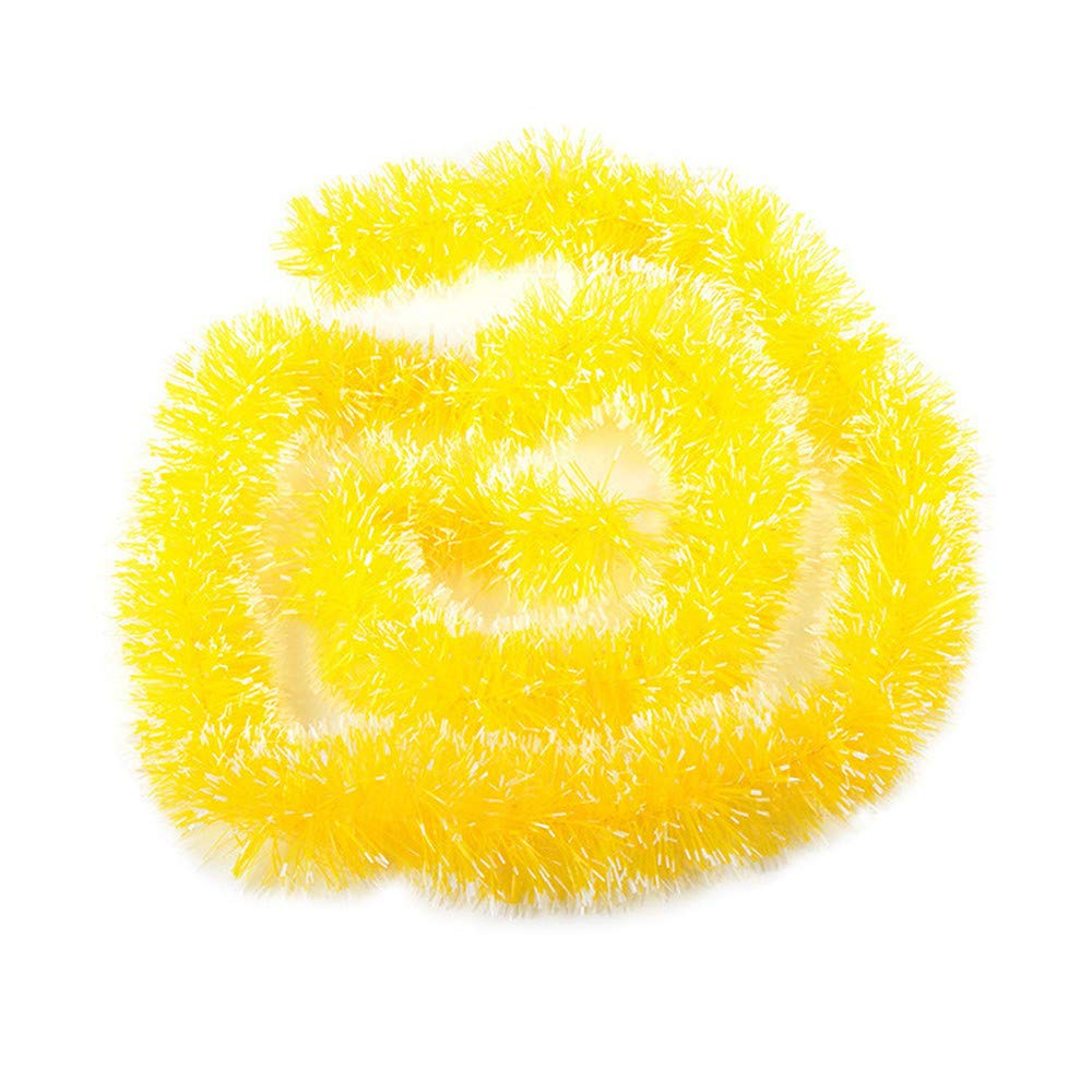 Chezaa Christmas Tree Wall Tinsel Decorations Snowy Tinsel Garland Soft Tinsel Christmas Tree Ceiling Hanging Decorations for Party Holiday Birthday (Yellow)