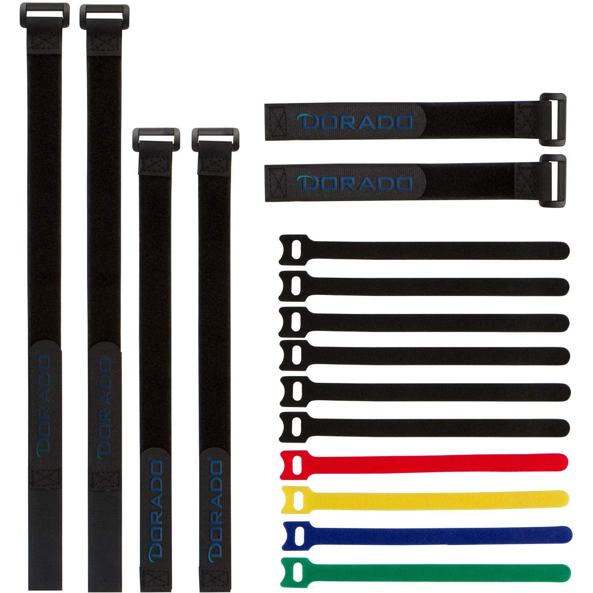 Reusable Cable Ties & Cinch Strap Set: Adjustable, All Purpose Hook Loop Fastening Straps for Home & Office Cord Management, Bundle & Secure Wires and More, Assorted 16 Pack, Black DORADO 4330221286