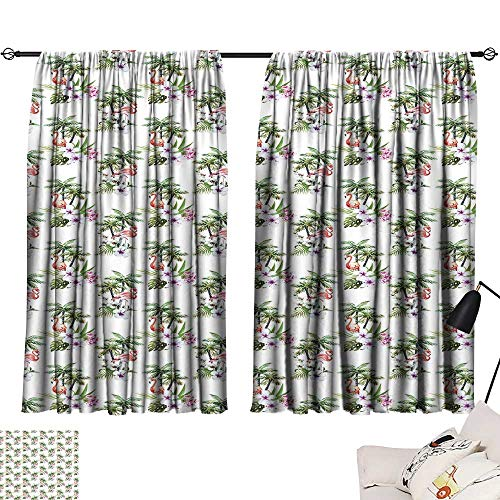 8' Natural Hibiscus Island Decor - Ediyuneth Long Curtains Palm Tree,Tropical Island Inspired Pattern with Flamingo Birds Hibiscus Flowers Watercolors,Multicolor 63