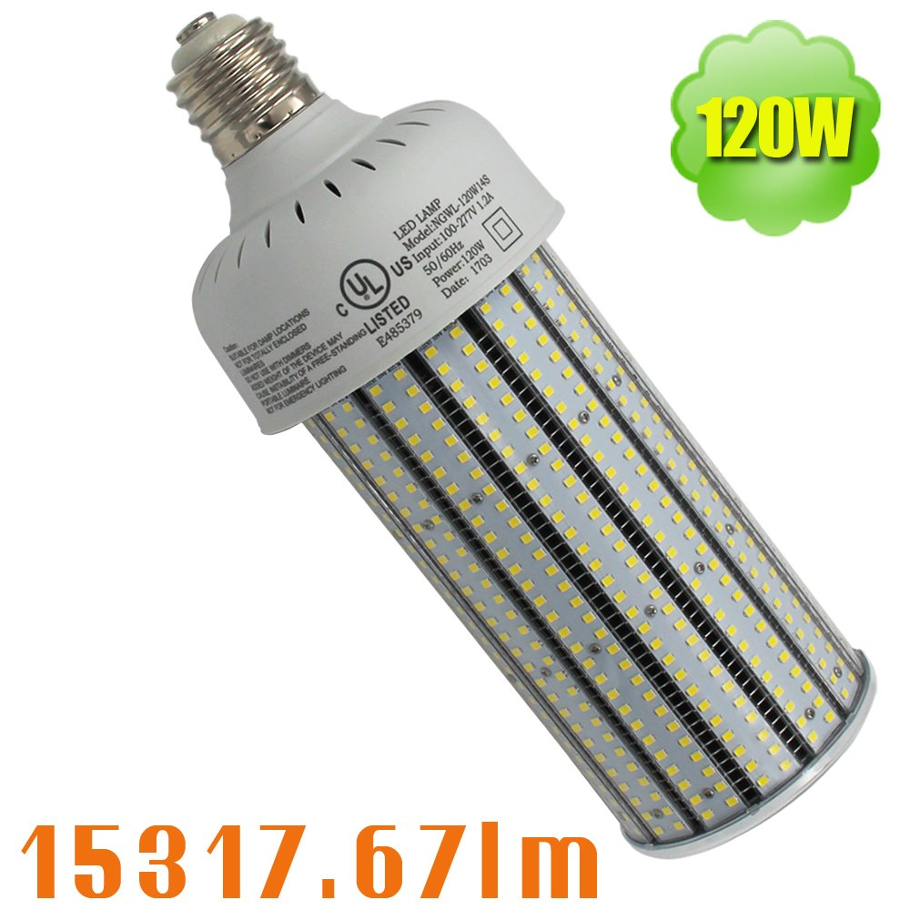 NUOGUAN 6 Pack 400W Metal Halide Flood Light Replacement 120W Pc Cover Corn Lights LED Mogul Base Bulb E39 Cool White 6000K 15317 Lumens 100-277Vac for Outdoor Security Lighting