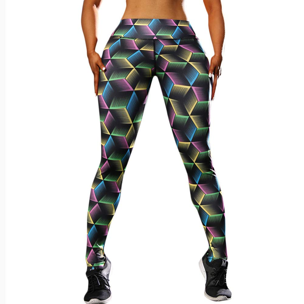 Leggins Mujer Deportivas Yoga Pantalones, Alto Elásticas de Cintura Leggins Polainas Impresión Geométrica Pilates Fitness Pantalones Flaco Sexy Cadera ...