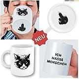 """Witzige Kaffee-Tasse mit Katzen-Motiv und Spruch """"Ich hasse Menschen"""" - weiße Katzen-Tasse mit Gesicht - lustiges Geschenk für Kollegen, Morgenmuffel und Teenager Mädchen"""