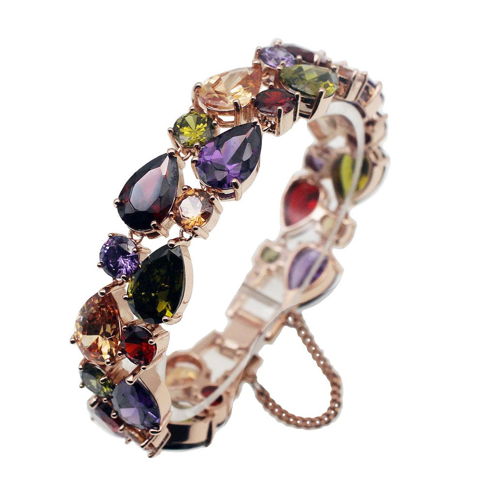 Vanessa Rose Gold Multi Gemstone Jewelry Sets for Women,Sparkling Garnet Amethyst Morganite Peridot Topaz (8 inch Bracelet)