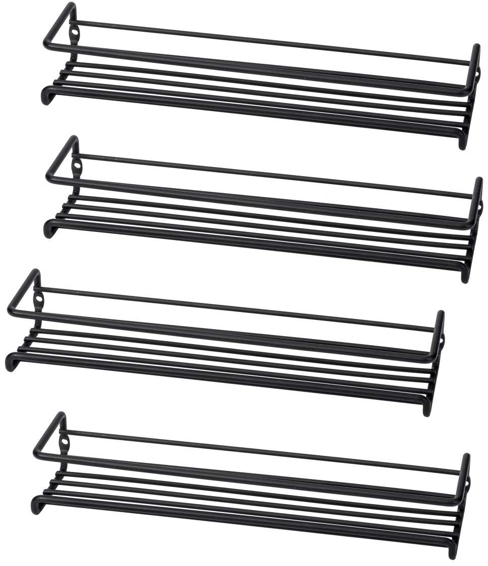 Set of 4 Wall-Mount Spice Rack Organizers - Hanging Racks for Cabinet Door or Pantry Door- Over Stove, Kitchen Cupboard Or Under Cabinet - by Unum UBSR-004
