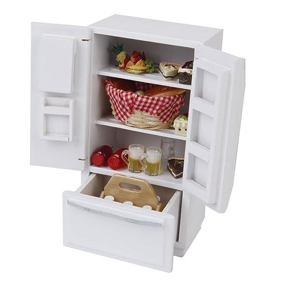Amazon.es: D DOLITY Escala 1/12 Refrigerador de Madera Miniatura ...