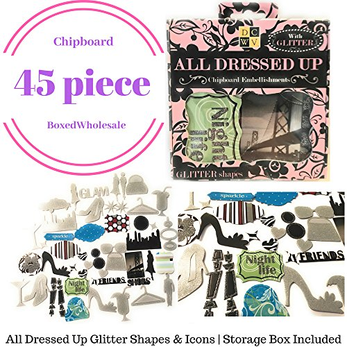 45pc Chipboard Embellishments | All Dressed up Glitter Shapes & Icons | Storage Box (Embellishments Chipboard Tags)