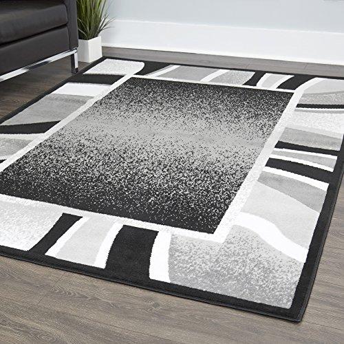 (Home Dynamix Lyndhurst Rotana Modern Area Rug, Contemporary Black/Gray 7'8