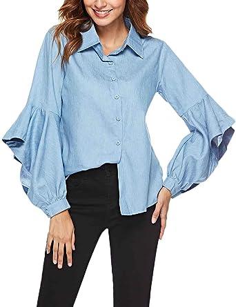 Camisas Mujer Fashion Bonita Larga Manga De Solapa Un Solo Ropa Festiva Pecho Volantes Tops Primavera Otoño Elegantes Color Sólido Tshirt Blusas: Amazon.es: Ropa y accesorios