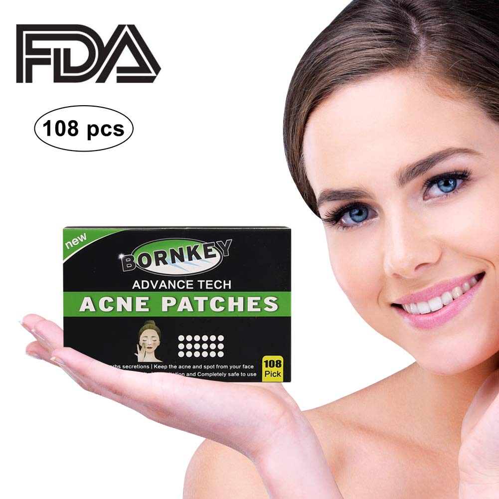 Acne Pimple Patch 108 dots-BORNKEY Natural Hydrocolloid Bandages Spot Treatment for All Kinds of Skin and Ages (2 Sizes, 3 Sheets) HONGYU