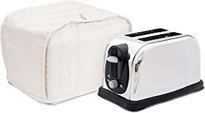 Toaster Cover, Polyester/Cotton Quilted Two Slice Toaster Appliance Cover,Dust and Fingerprint Protection, Machine Washable-2 YR Warranty (12W x 11D x 8.5H, Cream Polyester)