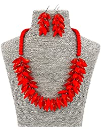 Fashion Jewelry Long Acrylic Beads Leaf Party Women Necklace and Earrings Set