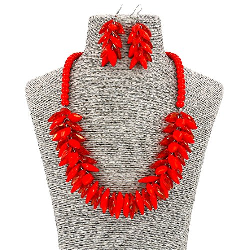 Fashion Jewelry Girls Long Acrylic Beads Leaf Party Women Necklace and Earrings Set(Red)