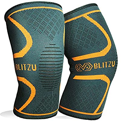Blitzu Flex Plus Knee Compression Sleeves Brace Support Pair for Joint Pain, Arthritis Relief, Injury Recovery, Improve Circulation, Protect Patella, Best Sleeve for Men Women Elder Running, Walking