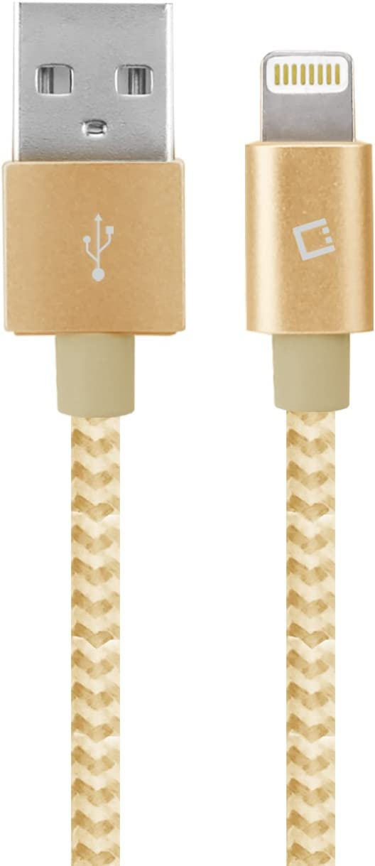 Cellet: Apple (MFi Certified) Lightning to USB Fast Charge Cable: Braided Cable; Compatible with All Apple Lightning Devices; Including Latest/Newest iPhone, iPad, iPod; Apple CarPlay Capable -Gold