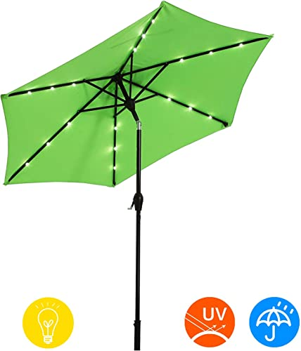 AI-LIN 9Ft Led Lighted Patio Table Umbrella Outdoor Umbrella with Push Button Tilt and Crank, 6 Steel Ribs, for Garden, Deck, Backyard, Swimming Pool Light Green