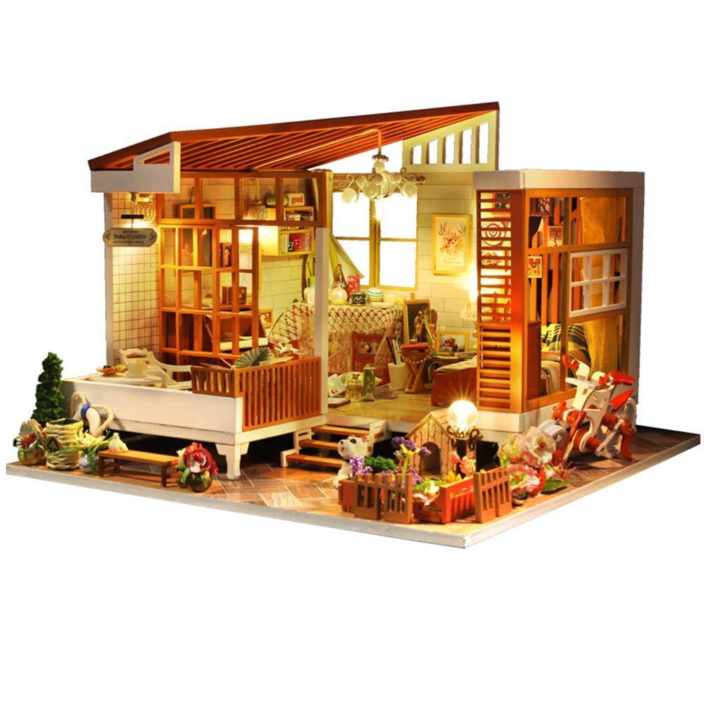 oferta de tienda Multi-Colorojo 23.524.519CM Juguetes educativos para niños niños niños Casas de muñecas en miniatura de tema simple de bricolaje y casas de muebles de madera con luces LED para bodas creativas Bloques de construcción de madera para niños   centro comercial de moda