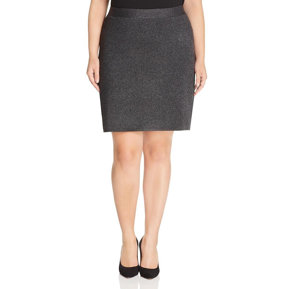 Eileen Fisher Womens Plus Tencel Marled Pencil Skirt Gray 2X