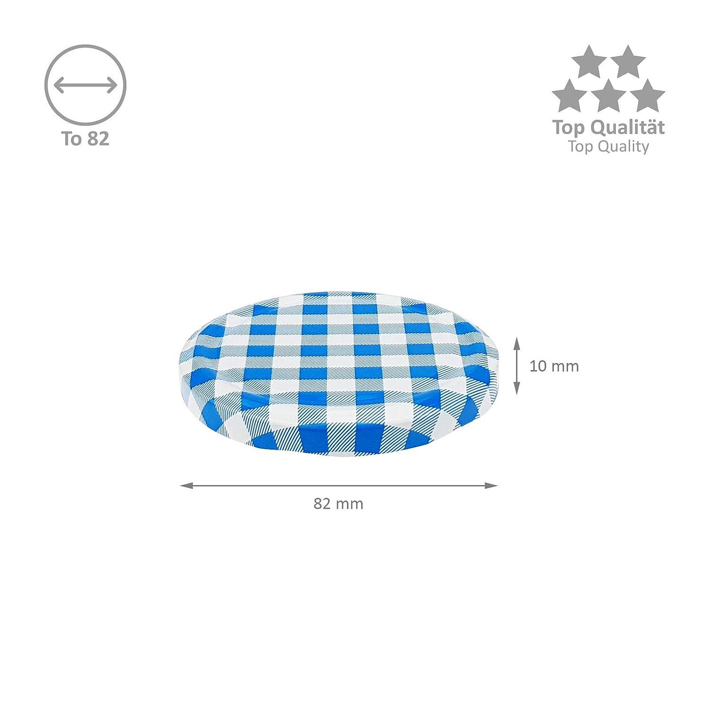 color azul Wellgro/® To 82 Lote de 25 tapas para tarros de cristal metal, a cuadros