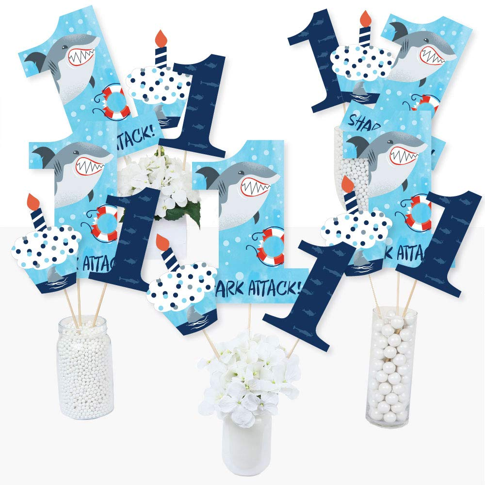 1st Birthday Shark Zone - Jawsome Shark First Birthday Party Centerpiece Sticks - Table Toppers - Set of 15