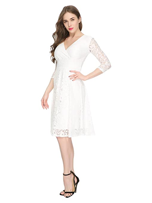 Maggie Tang Women's Lace Bridal Formal Skater Casual Cocktail Dress