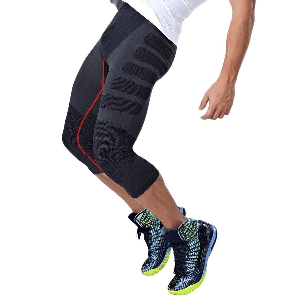 HEXIN Men Sport Leggings Cool Dry Sports Base Layer Legging Pants 3//4 Capri Shorts M-XL B180085