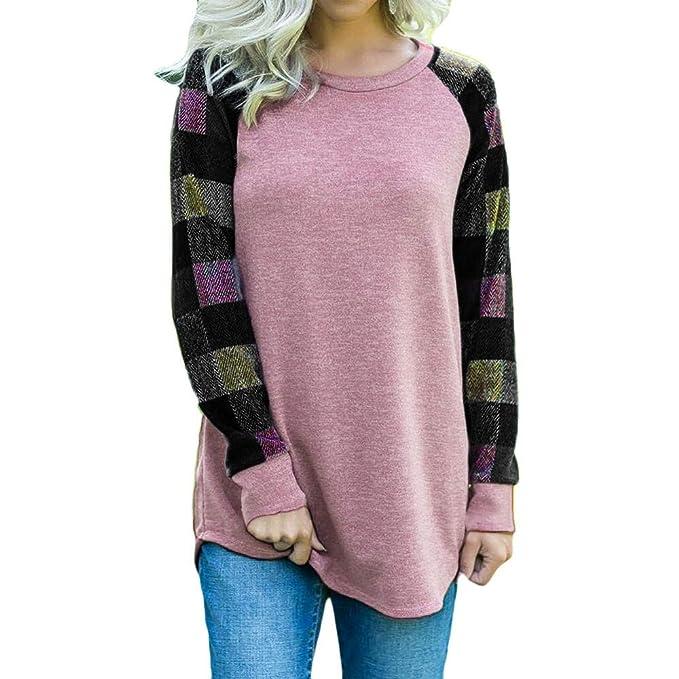 CICIYONER tamaño de la Mujer de Manga Larga a Cuadros de impresión Blusa de la Manera Camiseta Superior: Amazon.es: Ropa y accesorios