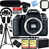 Canon EOS 77D 24.2 MP Digital SLR Camera Body with Case 64GB UHS-1 SDXC Memory Card Tripod Extra Battery Kit Cleaning Accessories & More Bundle (Pro Audio Video Creator Kit)