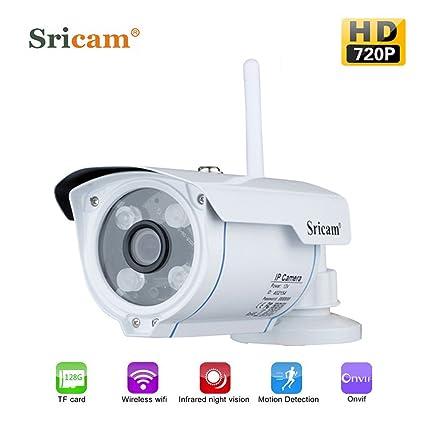 Tsing Cámara IP de Vigilancia Wifi Exterior Inalámbrica 720P CCTV ONVIF(IP66, IR-Cut, Vision nocturna, H. 264, Detección de movimiento), Color Blanco
