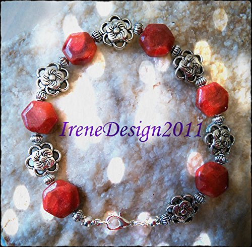 Facetted Orange Agate & Flowers Bracelet