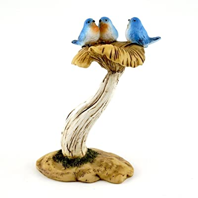 Top Collection 4402 Miniature Fairy Garden & Terrarium 3 Bluebirds on Mushroom Bird Bath Statue, Small: Garden & Outdoor