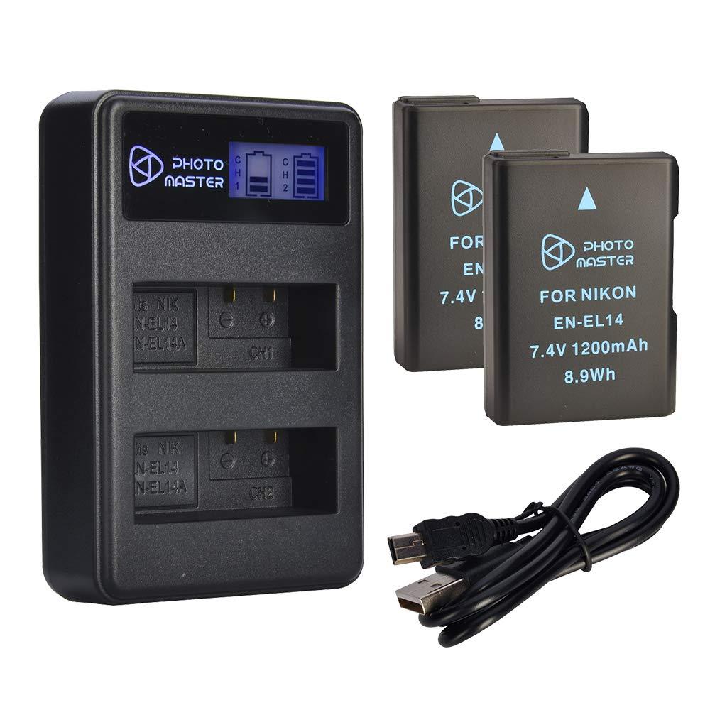 PHOTO MASTER EN-EL14 EN-EL14a Batería Reemplazo (2 Pack, 1200mAh) y LCD Doble Cargador para Nikon D5500, D5300, D5200, D5100, D3500, D3300, D3200, ...