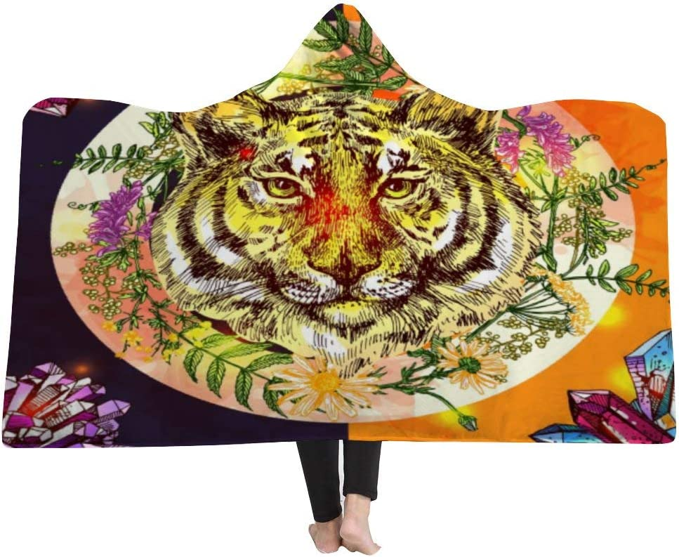 WanTo 3D Cloak Hooded Blanket Multicolored Crystals with Golden ...