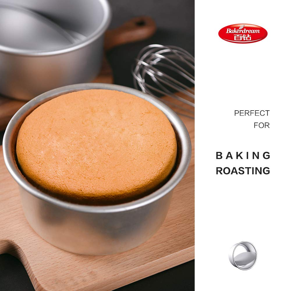 Bakerdream Anodized Aluminum Round Cheesecake Pan with Removable Bottom Bakeware Round Cake Pan 6 inch