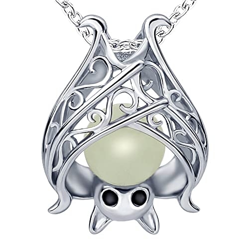"""Apotie Christmas 925 Sterling Silver Cute Bat with Luminous Stone Charm Pendant Necklace Jewelry for Women Chain 18"""""""