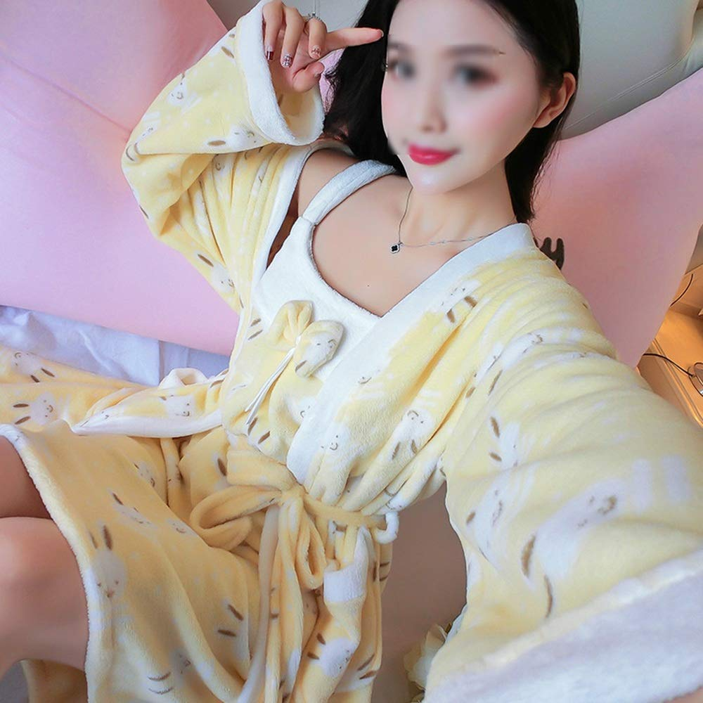 G ZZHF shuiyi Pajamas, Winter Female Comfortable Pajamas Sexy Wrapped Chest Nightgown TwoPiece Suit Soft Sling Nightdress Practical Household Bathrobes, 9 colors Optional Pajamas