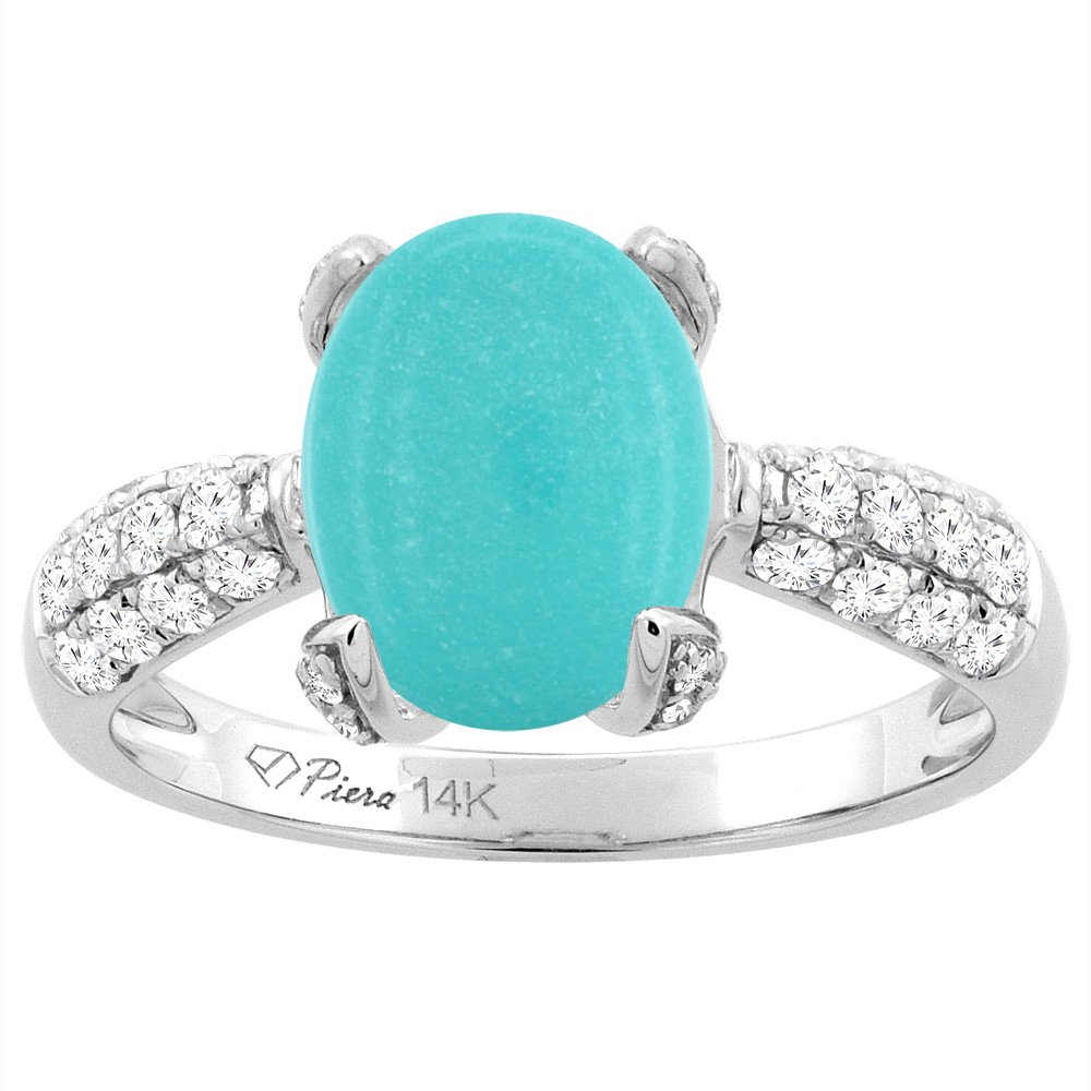 14K White Gold Natural Turquoise Engagement Ring Oval 12x10 mm & Diamond Accents, size 6.5