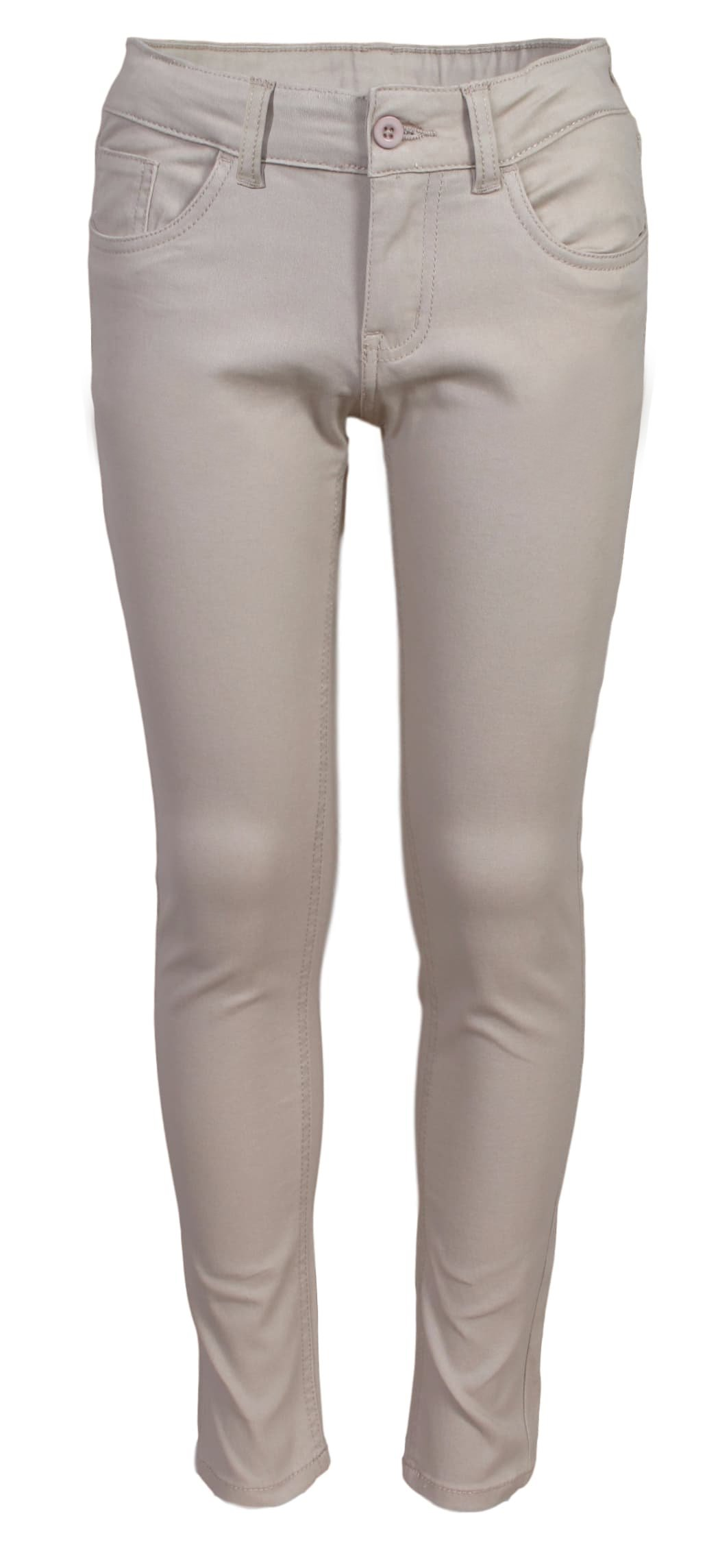 'Beverly Hills Polo Club Girls School Uniform Skinny Stretch 5 Pocket Twill Pants with Belt, Khaki, Size 14'