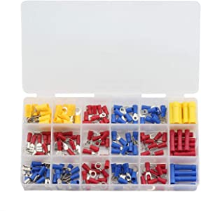 ZYAMY 175pcs Quick Splice Wire Terminals Assorted Kit Cold Pressed Insulated Male/Female Electric Wire Crimp Connectors Red Blue Yellow for 22-10 AWG