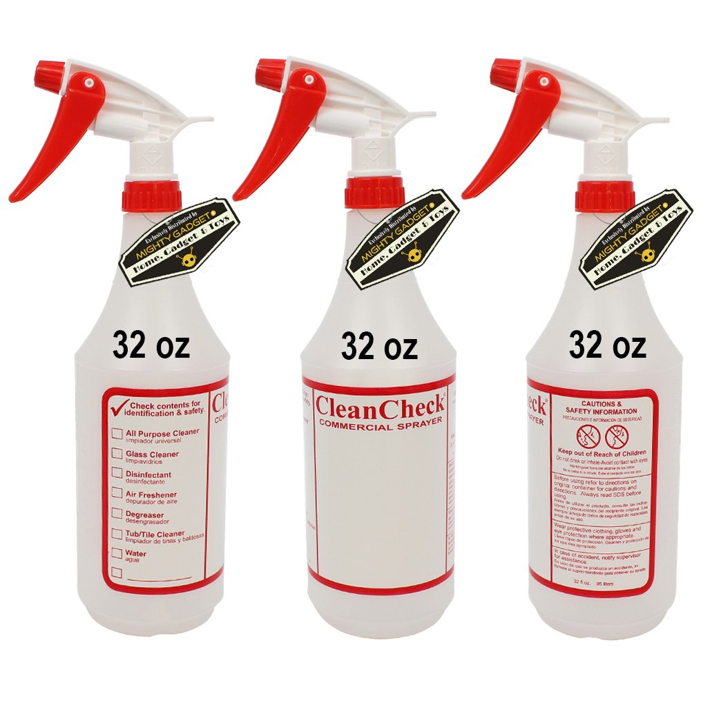 Mighty Gadget (R 3 Pack of 32 oz Premium Quality Empty Chemical Resistant Spray Bottle with No Clogs, Leak Proof Sprayers 40% More Spray Power by Mighty Gadget