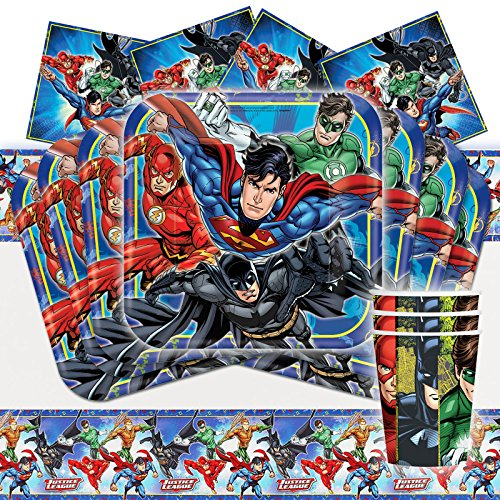 Deluxe Super Party Comics Superhero Pack (DC Justice League Superhero Tableware Party Pack Kit For 16)
