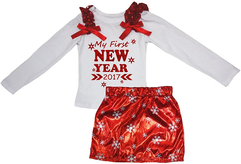 Petitebella My First New Year 2017 White L//s Shirt Snowflake Red Skirt Set 1-8y