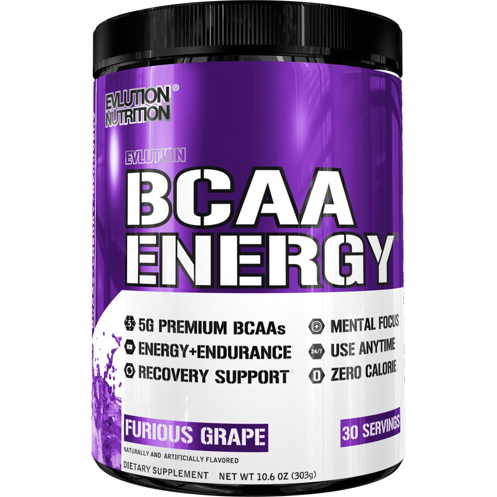 Evlution Nutrition BCAA Energy - High Performance, Energizing Amino Acid Supplement for Muscle Building, Recovery, and Endurance (30 Servings) Furious Grape