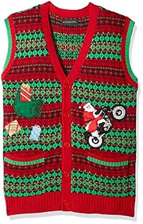 Blizzard Bay Men's Santa Motorcycle Cardi Vest Ugly Xmas, Red/Green Combo, S