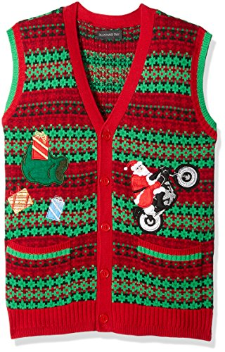 Ugly Sweater Vest (Blizzard Bay Men's Ugly Christmas Sweater Vest, Red/Green,)