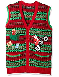 Blizzard Bay Mens Santa Motorcycle Cardi Vest Ugly Xmas Suit Jacket