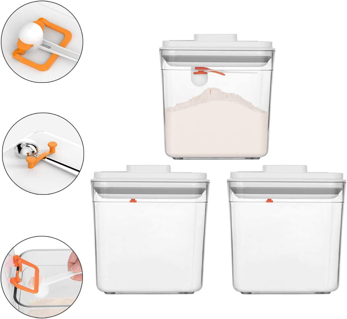Vencer 3 Piece 58 oz (1700ML) Pop Up Air Tight Food Storage Containers with Airtight Lids and Free Scoop,Food Leveling Device,Pantry Space Saving Canisters