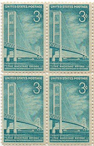 US Postage Stamp 1958 Mackinac Bridge Issue 3 Cent Block Of 4 Scott #1109